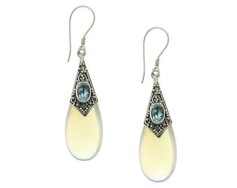 Opalite Sterling Silver Balinese Earrings with Blue Topaz Bali Jewelry