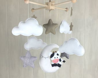 Cow mobile - cloud mobile - moon mobile - baby mobile - moon and stars - gender neutral nursery - baby mobiles - cow on the moon