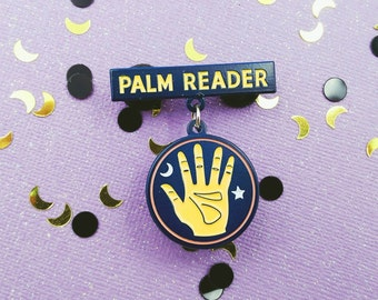 Palm Reader Dangling Enamel Pin