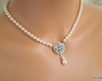 pearl necklace, bridal rhinestone pearl necklace, Wedding necklace, swarovski pearl bridal necklace, Statement Bridal necklace, ROSELANI