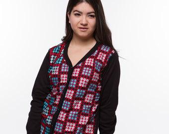 Women's African Print Button-down Sweatshirt