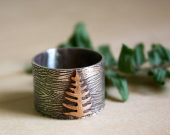 sterling silver copper large ring - tree ring - fern ring - men wood texture ring- mens wedding band - size 10 - FERN FROM The UNDERGROWTH