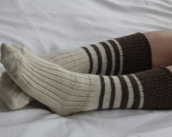 Hand Made Bed Socks NATURAL UNDYED  WOOL - Knee high  hand cranked and finshed - bedsocks - soft and silky natural colours