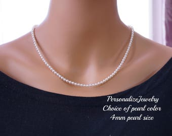 Pearl necklace, Bridal jewelry, Bridesmaid necklace, Gift for wedding attendee, Classic pearl necklace, Sterling silver, 4mm pearl size