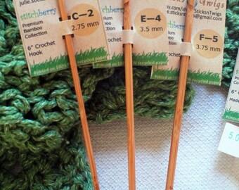 Crochet hooks, bamboo, 6 inch, assorted sizes