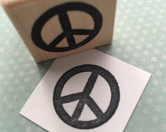 Peace Sign Rubber Stamp 4693