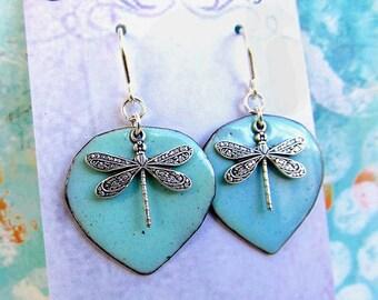 Silver Dragonfly earrings  Robins egg blue earrings torch enamel jewelry