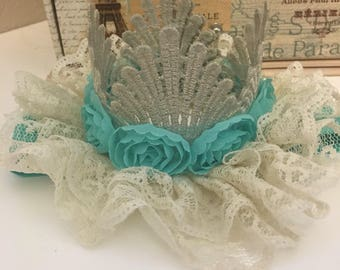 Baby birthday crown / photo shoot prop / birthday headband / lace crown