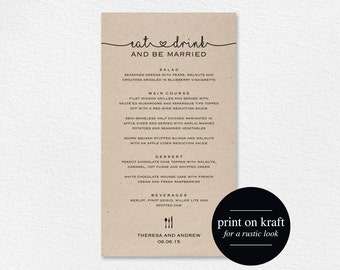 Wedding Menu Printable, Wedding Menu Template, Wedding Menu Cards, Dinner Menu Template, Editable Menu, PDF Instant Download #BPB140_4