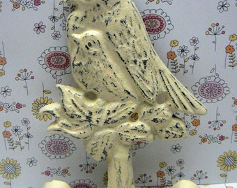Bird Wall Hook Cast Iron Shabby Elegance Distressed Cream Off White Lovebirds Mom Baby Birds Nursery Mudroom Jewelry Hat Key Leash Hooks