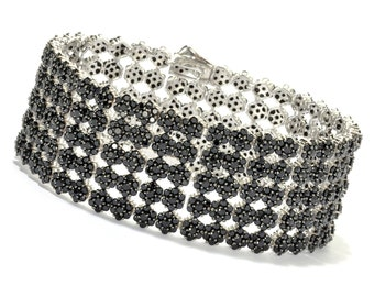 Sterling Silver 25.87ctw Black Spinel Chain & Links Bracelet SZ 8