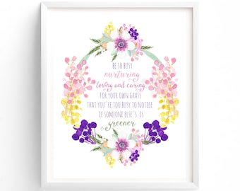 Nursery Prints, Quote Prints, Printable, Be So Busy, Pink, Yellow, Purple  Floral, Nursery Print, Instant Download