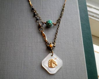 Vintage Mother Of Pearl Unicorn Head Button Charm Necklace - Retro Button Charm & Turquoise Bead Bohemian Assemblage Jewelry Gift For Her