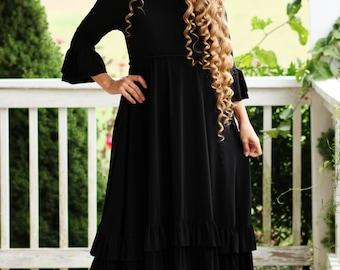 LillyAnnaLadies NOIR Bree Circle Ruffle Little Black Dress Lala Modest