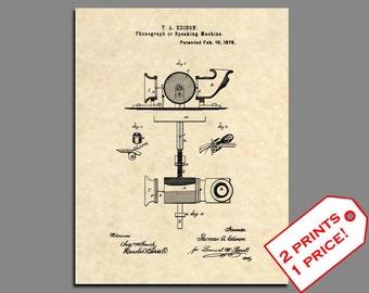 Patent Prints - 1877 Thomas Edison Phonograph Patent Art - Vintage Edison Print Wall Art - Edison Art Patent Print - Original Edison Art 36