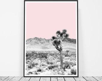 Desert Print, Desert Wall Art, Californian Desert Photography, Joshua Tree Print, Southwest Decor, Black and White, Wall Art