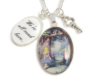 CHESHIRE CAT necklace We're all mad here Alice in wonderland charm necklace