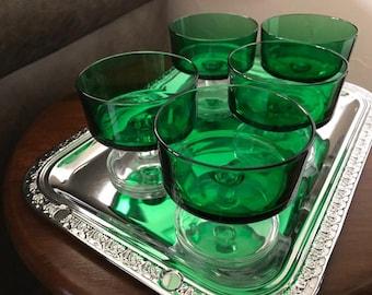 1970's Luminarc set of five green dessert glasses