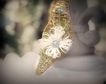 Ivory Flower Shoe Clips. White Green Yellow Orange Blue Purple Red Satin Ribbon. Beige Pearl / Rhinestone. Bridal Bride Bright Shoe Clip Pin