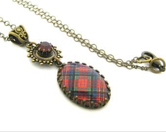 Tartan écossais Tartan collier MacPherson Clan Tartan Couronne bord lunette collier de bijoux w/35SS charme lot Tiffany rouge Siam