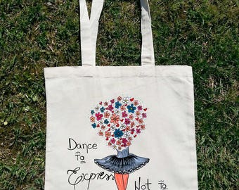 Dance Tote Bag, Dance To Express Not Impress, Dance Teacher Gift, Dance Teacher Bag, Ballerina Tote Bag, Ballet Tote Bag, Floral Tote Bag