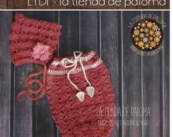 INSTANT DOWNLOAD - Blossom Bonnet and Snug Sack Crochet Pattern - Bonnet Pattern - Swaddle Sack Pattern