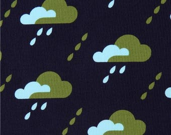 219234 navy blue with rain drop Cloud 9 organic corduroy fabric Droplet