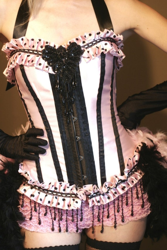COTTON CANDY Burlesque Costume Corset feather dress for Circus Halloween party - EVERYTHING Included!
