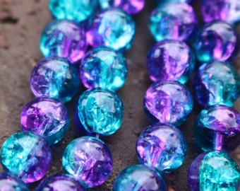 purple blue beads, 8mm beads, glossy, glass beads, one bag approx. 48 beads, equals to one full strand, summer beads, mermaid beads,
