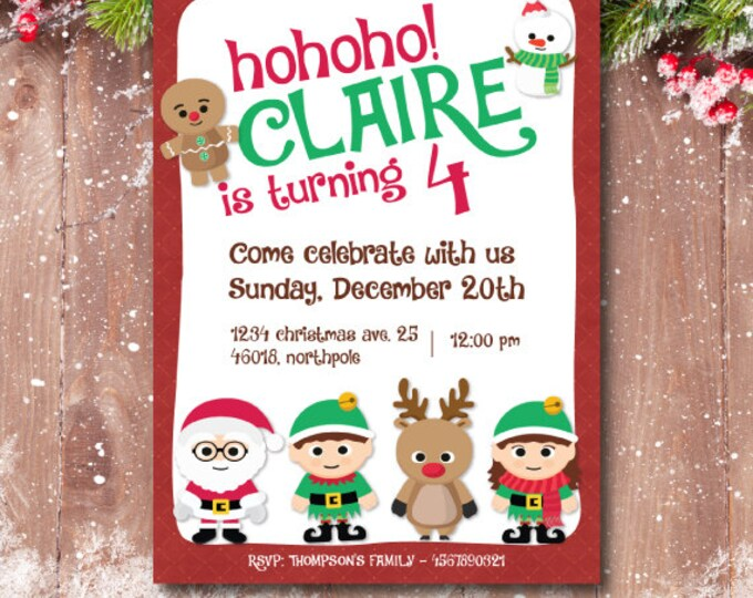 Christmas birthday invitation, christmas party invitation. Santa claus, snowman, elves, rudolph the reindeer