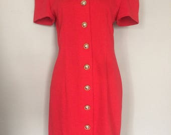 1980s Vintage Red Body Con Dress