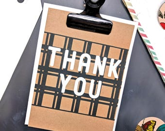 Thank You Card (Set of 2) -  Screen Printed w/ Simple, Chic Window Pane Plaid, White and Black Ink
