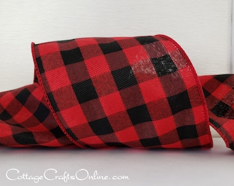 "Christmas Wired Ribbon, 4"" wide, Red and Black Check Buffalo Plaid - TEN YARD ROLL -  ""Buffalo Twill 100"" Craft Wire Edged Ribbon"