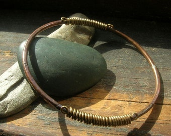 Copper Bangle with brass wire wrapping detail,average size
