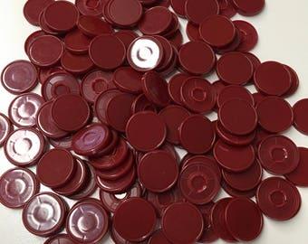 Medicine  flip off vial caps for crafts-22mm size 100 pcs  maroon