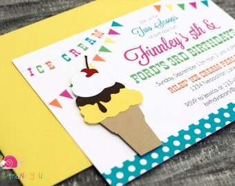 Ice Cream Cone Invitations · A6 FLAT · Turquoise Yellow Fuchsia Green Orange · Birthday Party   Ice Cream Social   Twins and Siblings