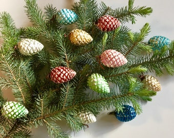 Vintage Pinecone Glass Christmas Ornaments, Set of 13 - Mercury Glass Frosted, Multi Colored Made in USA Mid Century Holidays