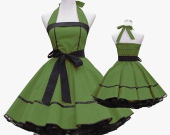 50's vintage dress full skirt black dark green classic design custom made Retro