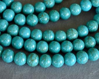 Turquoise Beads, 8mm, Round Synthetic Turquoise Stone Beads, 20 Beads, Stone, Gemstone, Hole 1mm