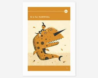 N is for NARWHAL (Giclée Fine Art Print/Photo Print/Poster Print) by Jazzberry Blue