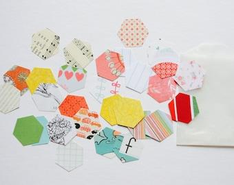 Hexagon Paper Confetti . 25 Paper Die Cuts . Ephemera Cardstock Notebook Paper Scrapbooking Mixed Media Planner Supplies Listers Gotta List