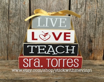 teacher gifts, live love teach, TEACHER name gifts, PERSONALIZED teacher sign, end of the year gift, gift for teacher, classroom gifts,