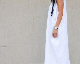 Maxi Dress, oversize dress, white Dress, Loose Dress, Long Dress, Floor Length Dress, Short Sleeves Dress, Casual Dress, Beach Dress
