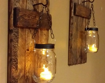 Wood Sconces, Rustic Home  Decor,  Rustic candle holder, Rustic Lantern, Mason Jar wood candle,  Candle holders  priced 1 each