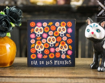 Made to Order Sugar Skulls and Flowers - Dia De Los Muertos - Decorative Day of the Dead Sign - 1:12 Dollhouse Miniature