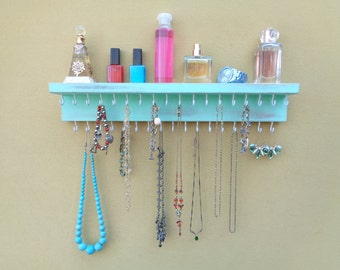 Jewelry Shelf - Necklace Holder - Jewelry Organizer - Jewelry Storage - Necklace Shelf - 35 Hooks And A Shelf - Many Other Colors Too