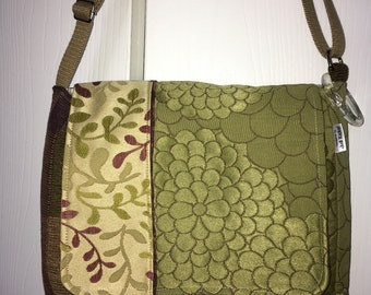 Olive Foliage with Purple Messenger Bag