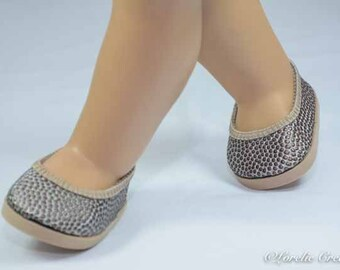 FLATS SHOES Slippers in Silver/Gold Pebble Texture Faux Leather for American Girl or 18 inch doll