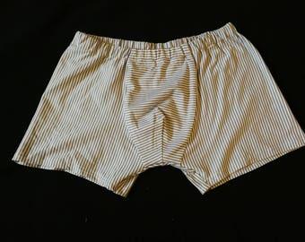 Gray white striped Boxer shorts size L / 6 hand made unique