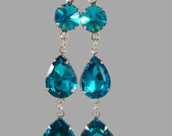 Art Deco Earrings Aquamarine 1920's Inspired Jewelry Rhinestone Earrings Three Tiered Drop/Dangle